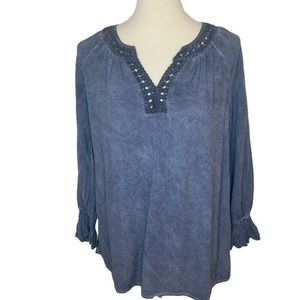 Spense Long Sleeved Tunic in Blue Washed Denim